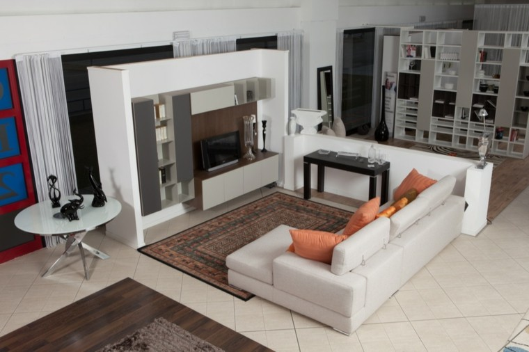 salon moderno muebles diseño estantes