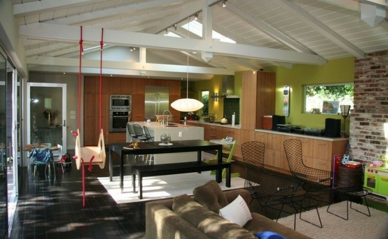 salon moderno muebles negro columpio ideas