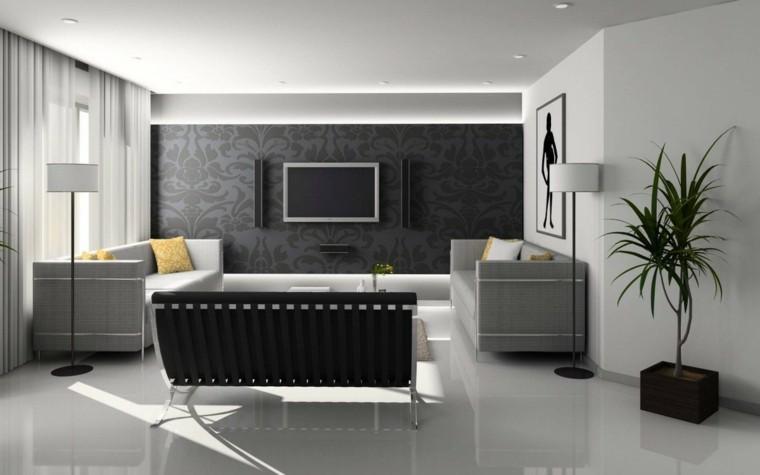 interesting awesome salon moderno diseo negro blanco with salones modernos en blanco with diseo salones modernos - Diseo De Salones