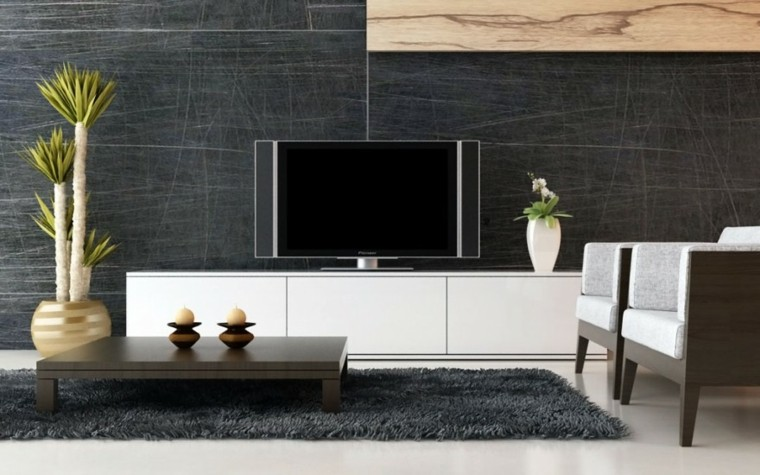 salon moderno pared rayada negra
