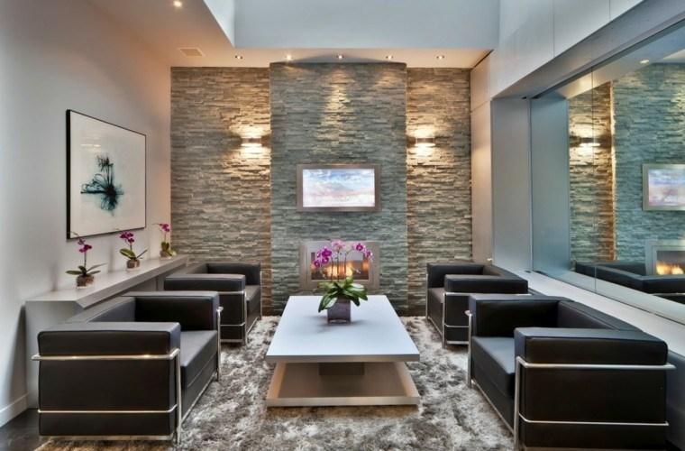 Piedra y madera para los revestimientos de paredes - Salones decorados con piedra ...