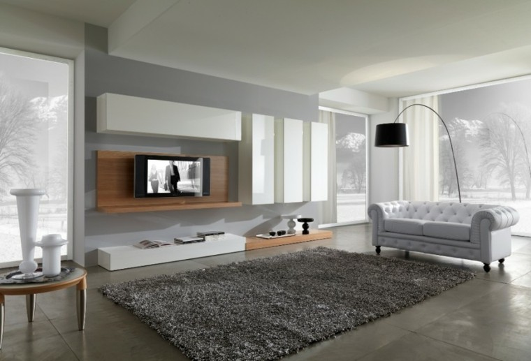 salon moderno sofa blanco capitone