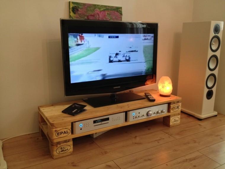 Muebles hechos con palets 100 ideas para el hogar for Muebles tv originales