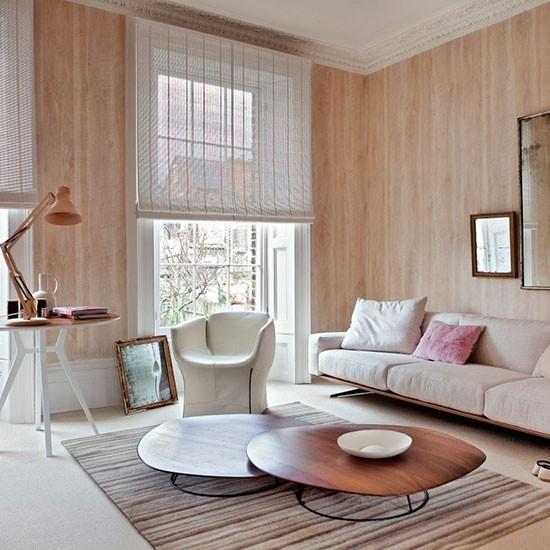 salon ventanales percianas papel pared beige ideas