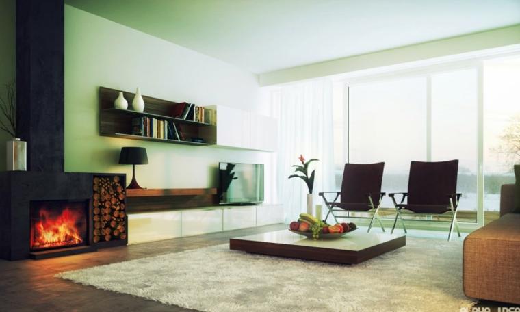 salon color verde chimenea moderna
