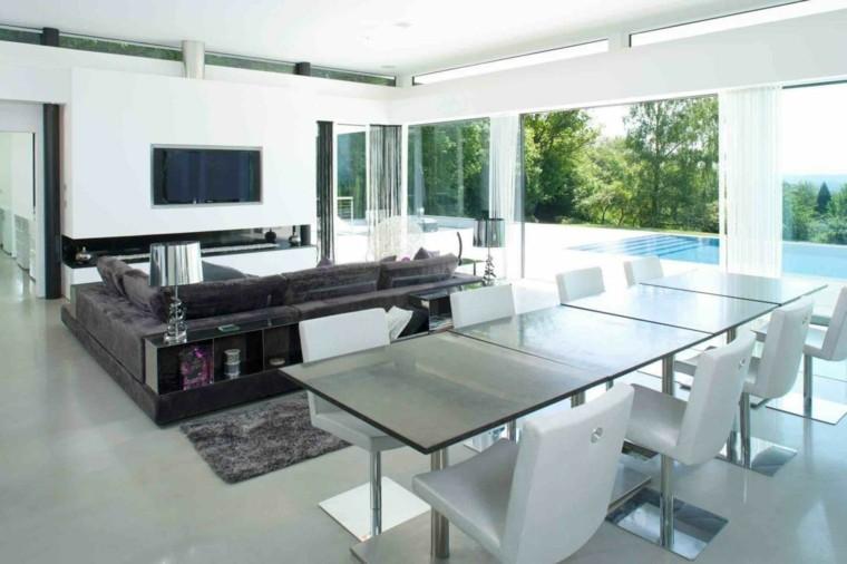 salones diseño blanco piscina luz patio