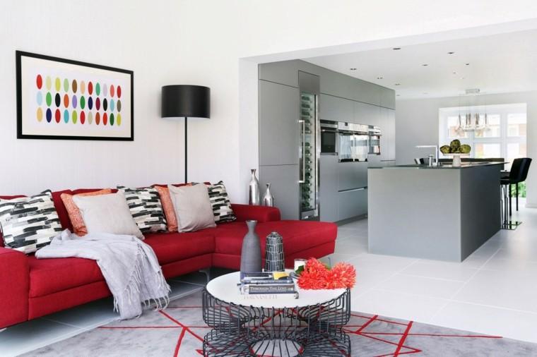 salones diseño cocina gris colorido