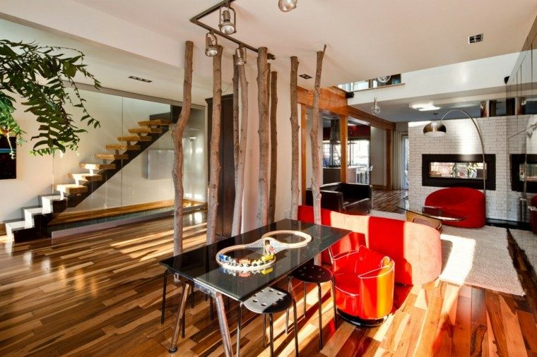 salones diseño colorido plantas madera
