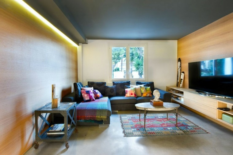 salones diseño led pared colorido textiles