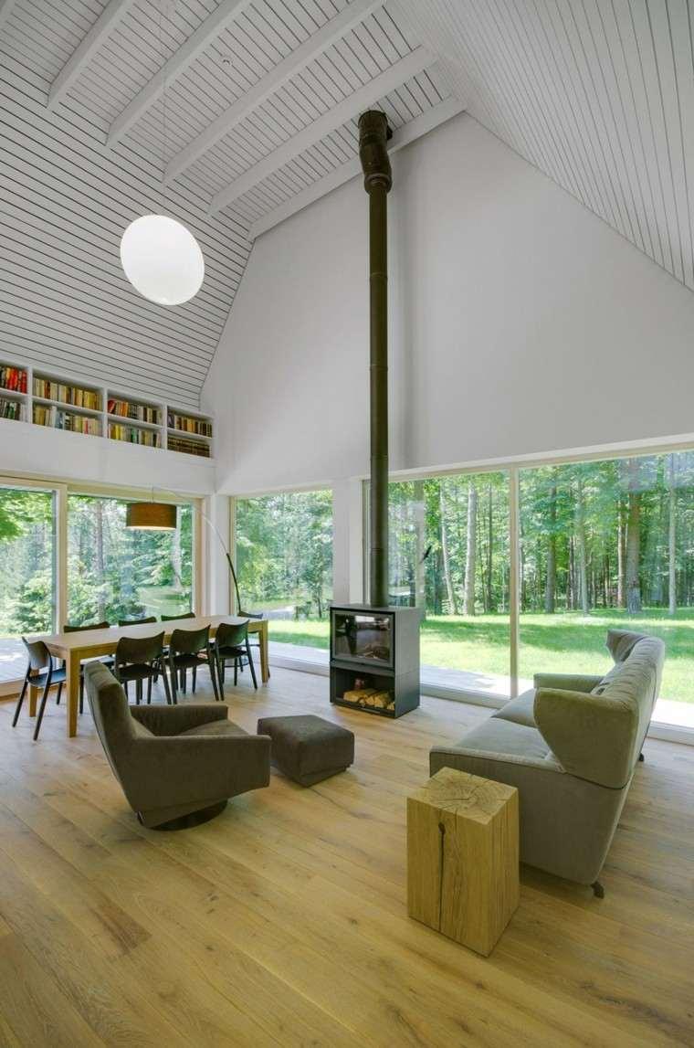 salones diseño madera librero chimenea