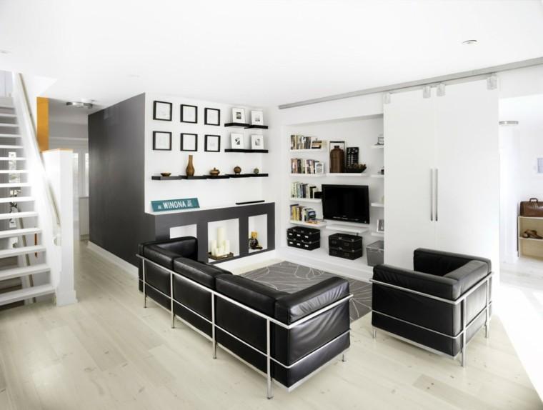 salones diseño piel mobiliario oscuro