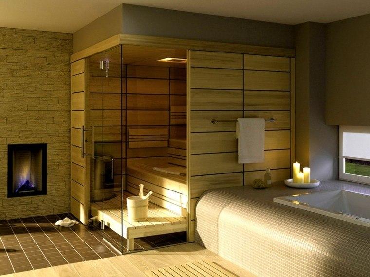 sauna moderna baño casa madera