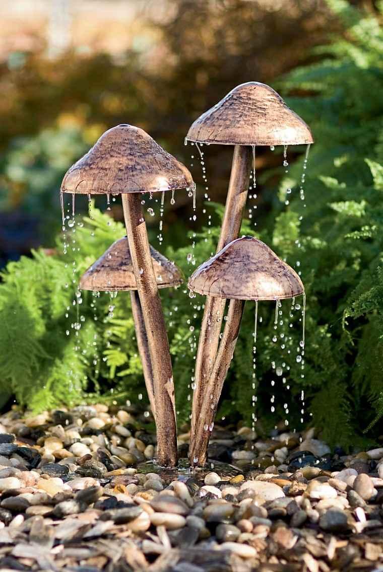 accesorios jardin fuente setas