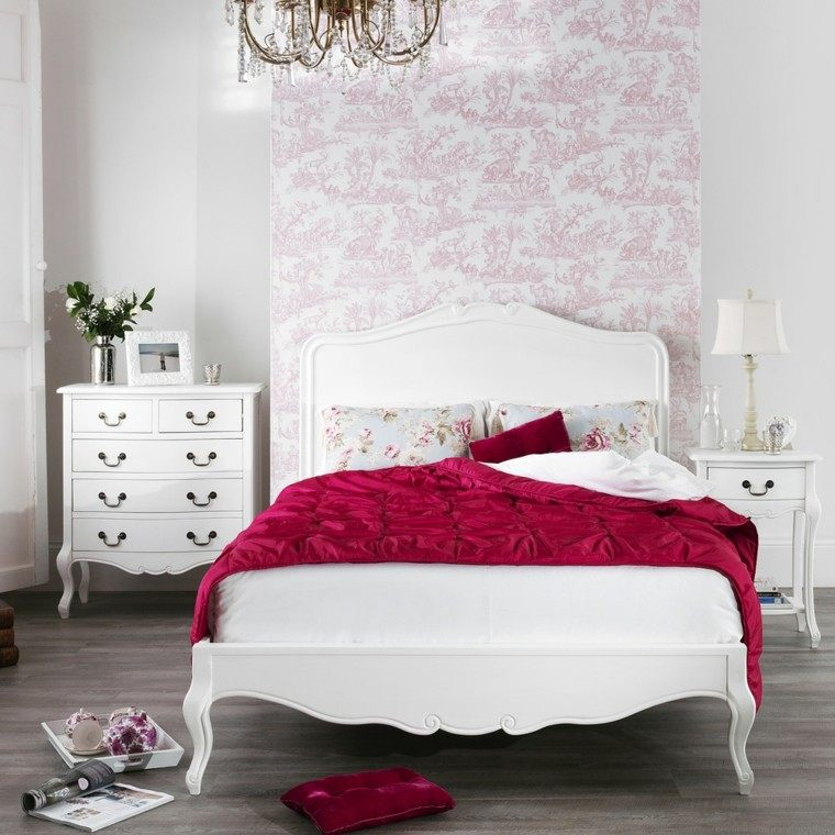 shabby chic dormitorio muebles blancos papel pared ideas