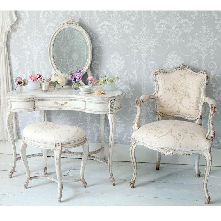 shabby chic dormitorio muebles decorativos madera blanca ideas