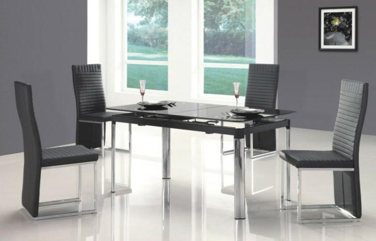 sillas comedor acolchadas grises modernas