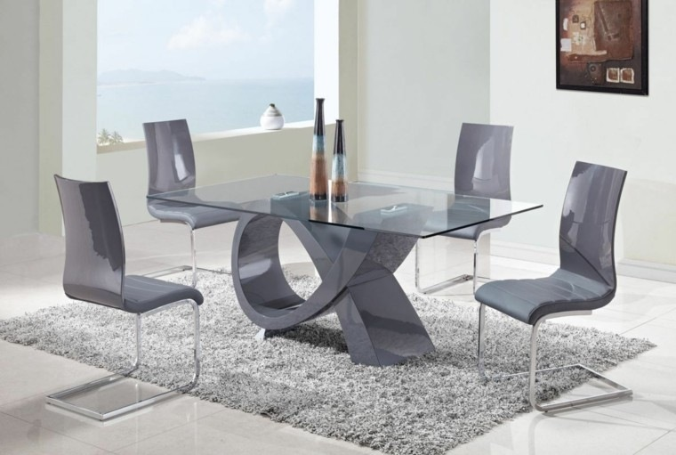 sillas comedor estilo moderno gris