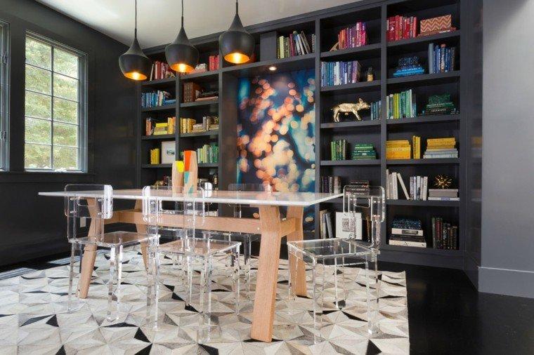 sillas cristal comedor biblioteca moderno