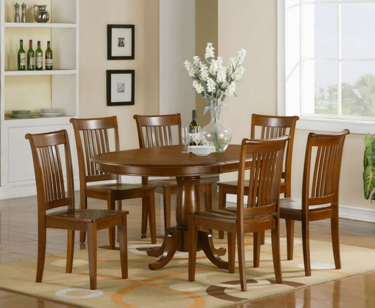 sillas de comedor baratas madera marron oscuro elegantes