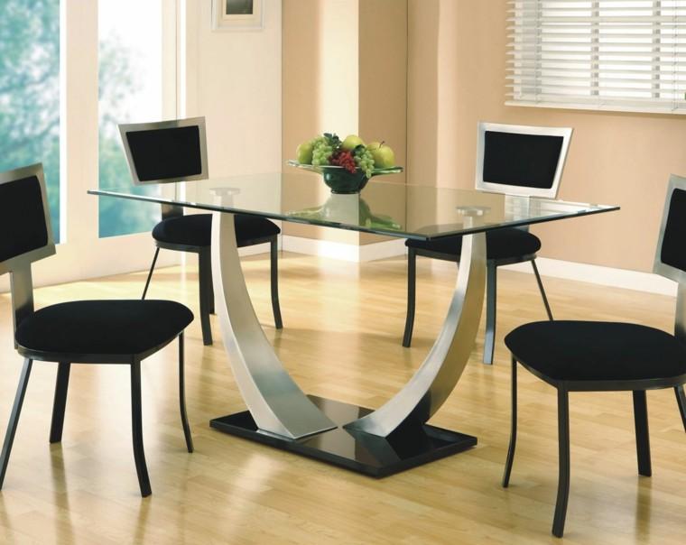 sillas diseño negro metal comedor
