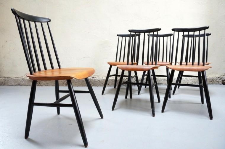 sillas estilo vintage madera negra ideas