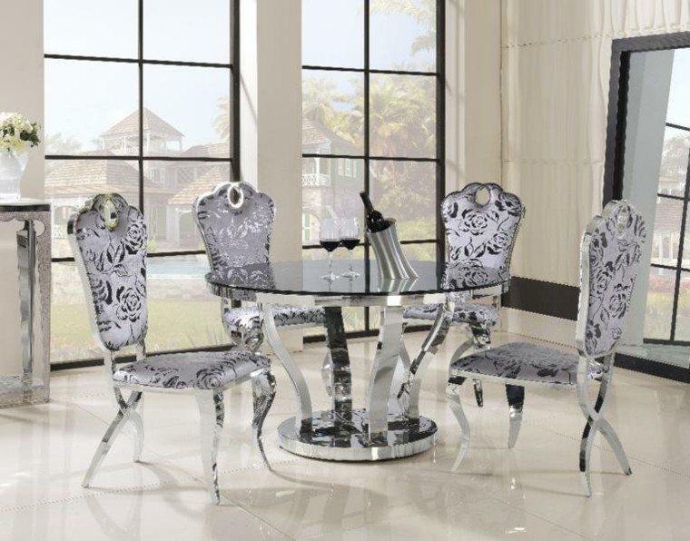 sillas lujosas tapizado flores comedor