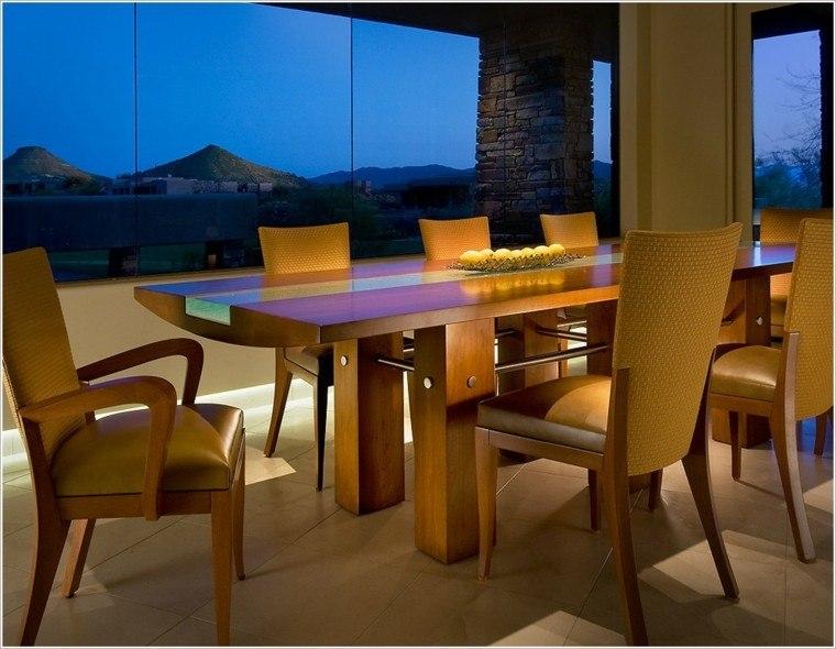 sillas madera acolchado piel amarillo