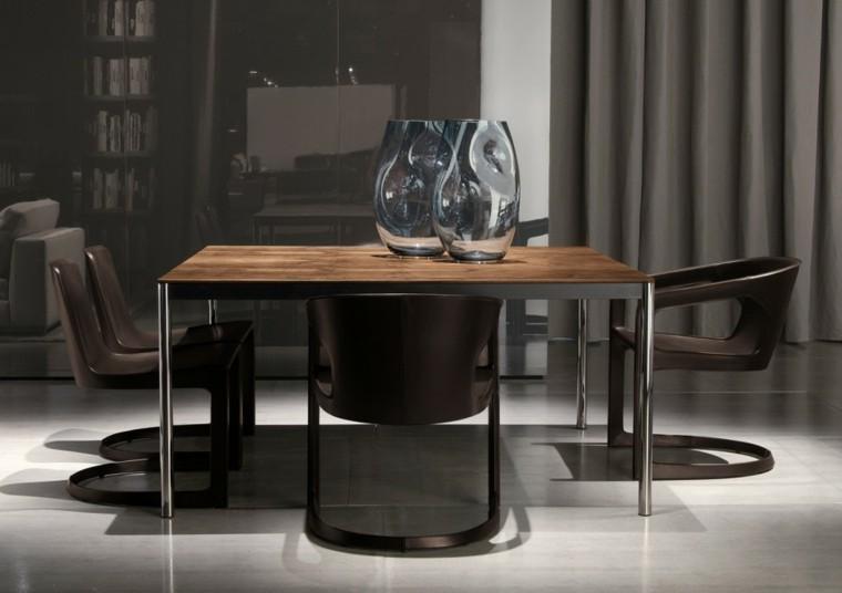 sillas marrones plastico comedor moderno