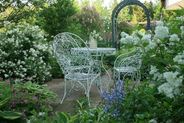 sillas mesa metal blancas jardin