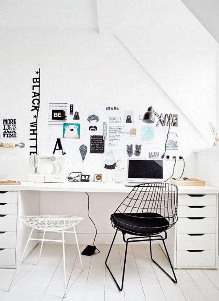 sillas metal escritorio blanco negro