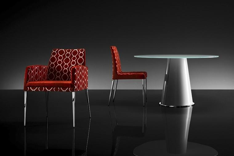 sillas modernas tapizado terciopelo rojo