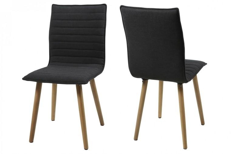 sillas pies madera cojines negros respaldo ideas