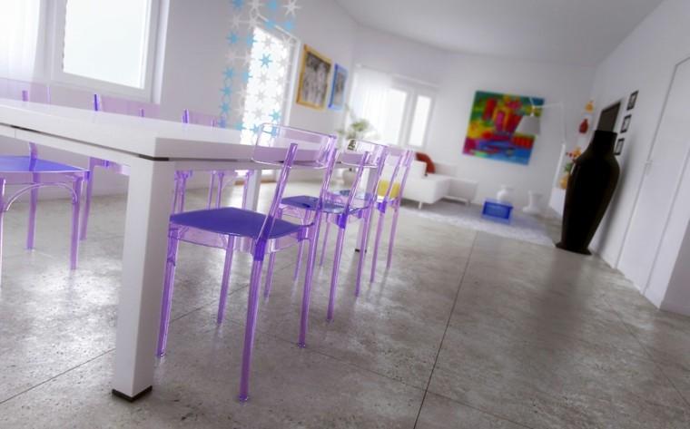 sillas plastico lila transparentes baratas ideas