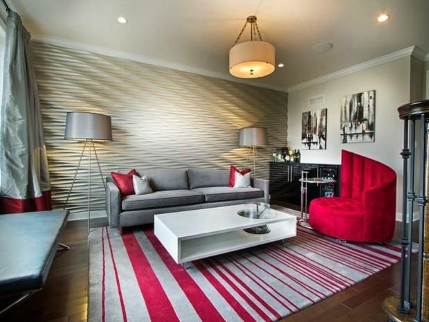 sillon rojo decoración moderna