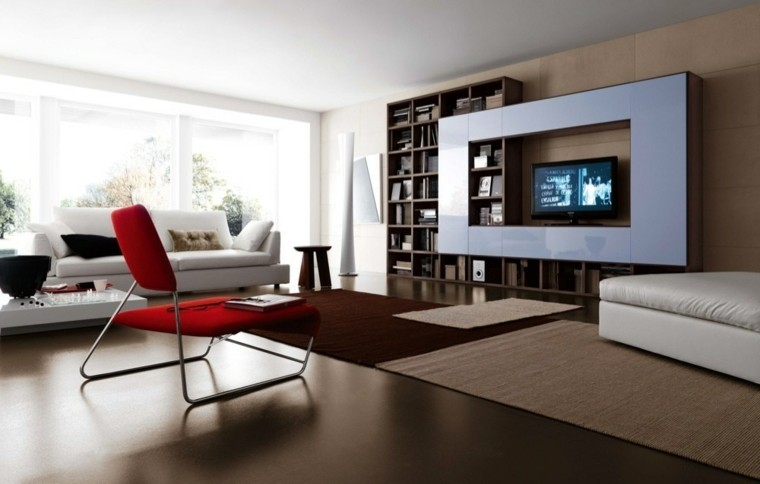 sillon rojo estilo moderno tele
