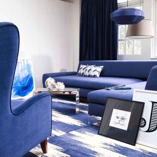 sofa azul butaca cortinas ideas cuadros moderno