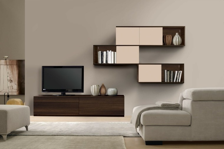Muebles de salon modernos y funcionales menos es m s for Muebles beige