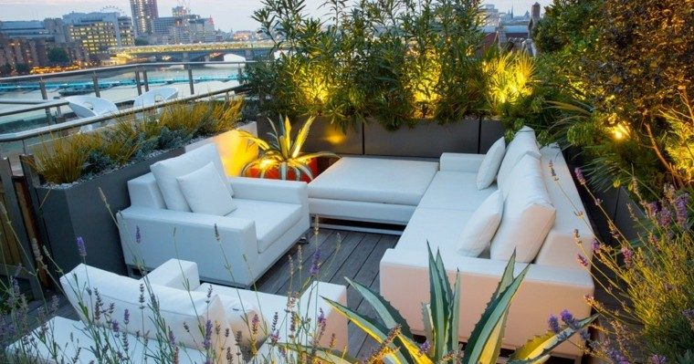 sofa blanco decoracion jardinera moderno