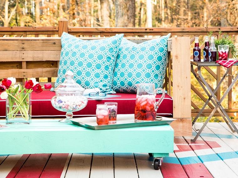 decoración con palets sofa comoda grande cojines mesa ideas
