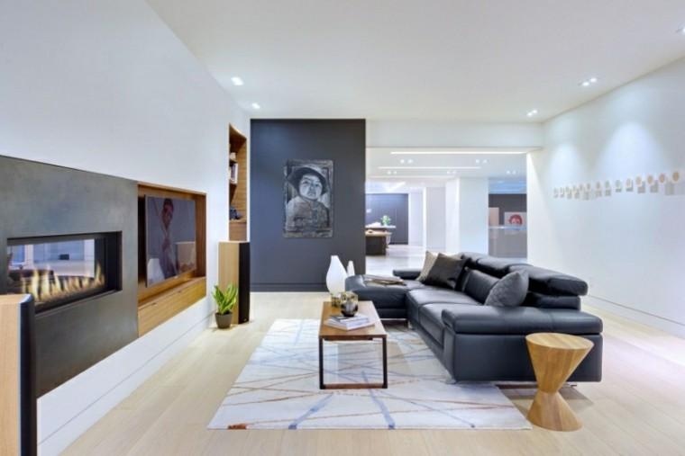 sofa grande cuero negro lugares fuego ideas