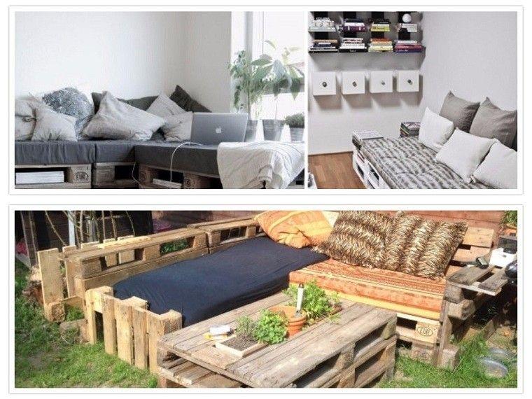 Ideas con palets 75 creaciones para personalizar tu espacio for Sofa exterior plegable