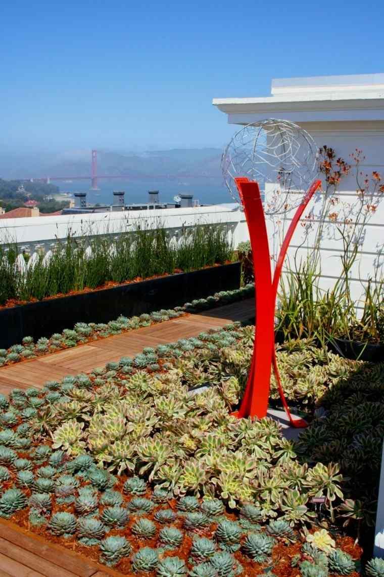 suculentas colorido techo mantillo escultura