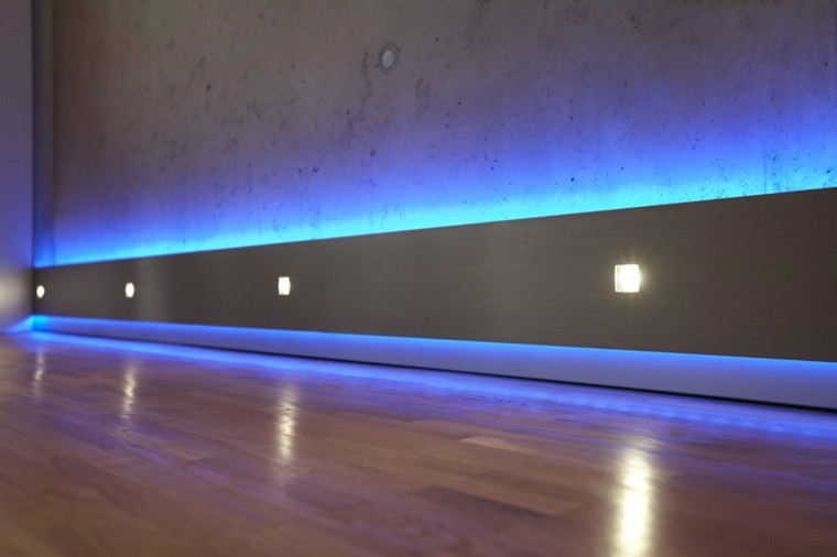 suelo PARQUET LUCES LED azules