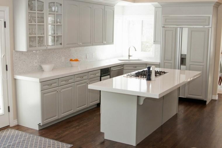 Blanco y madera cincuenta ideas para decorar tu cocina - Suelos para cocinas blancas ...