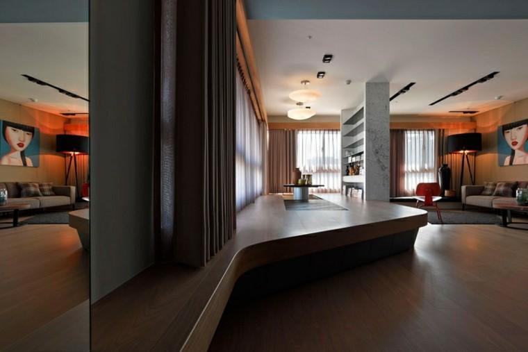 suelo madera niveles marmol estanterias salon ideas