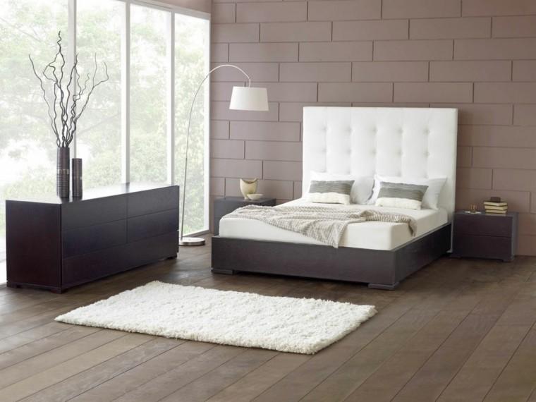 suelo madera pared gris cabecero cama blanco ideas