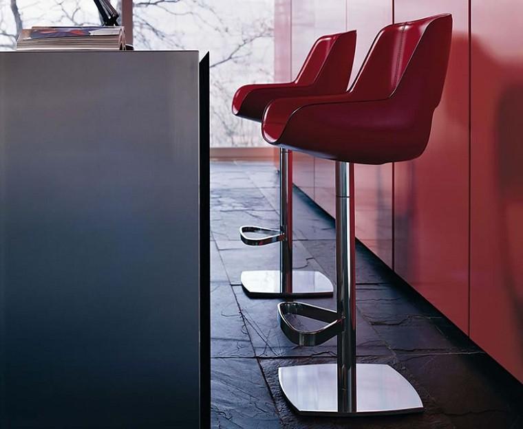 taburetes de cocina rojos metal cuero