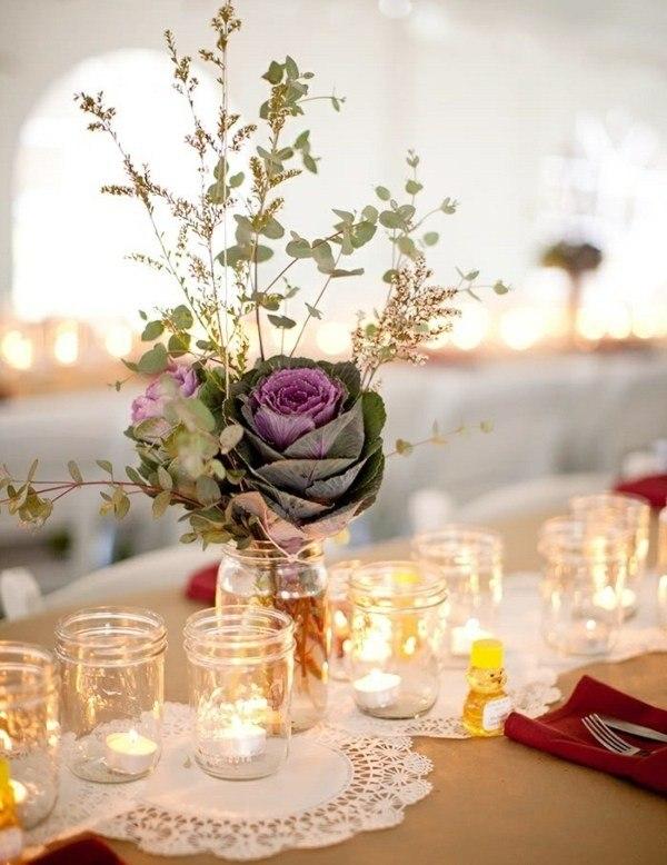 tarros cristal velas dentro flores