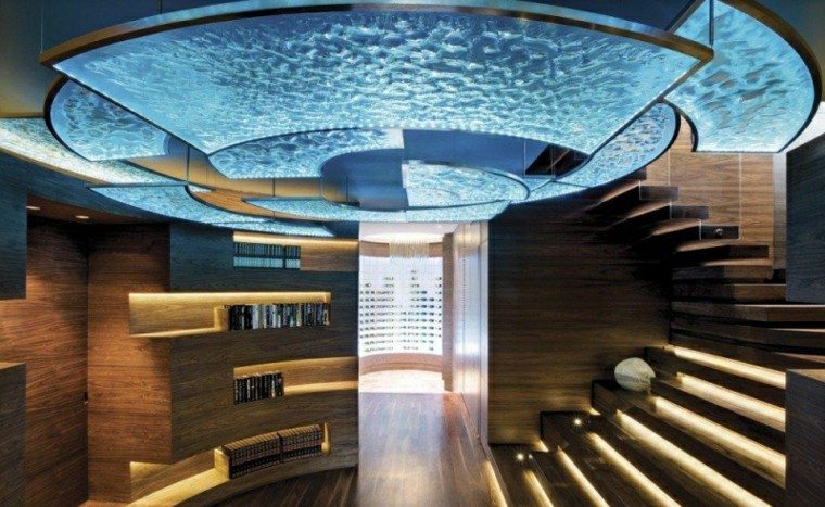 techo azul iluminado precioso iluminacion LED suelo estantes ideas