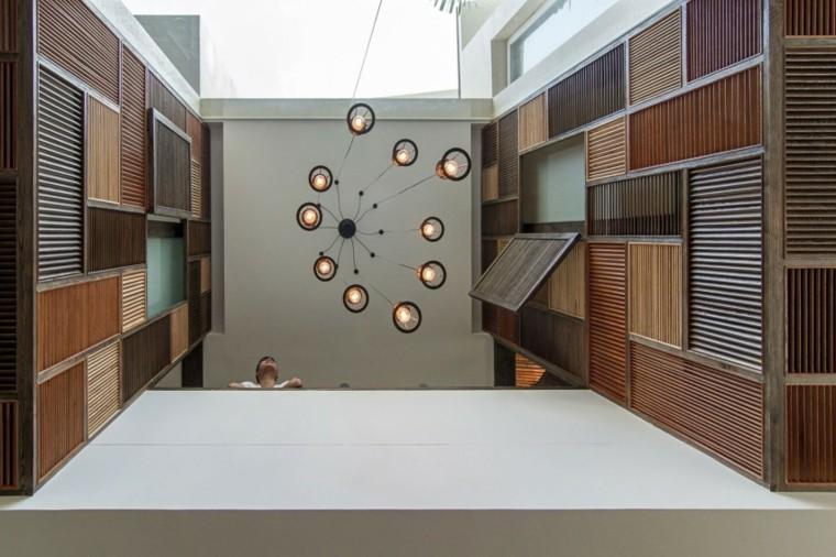 techo diseño madera luces lampara colgante
